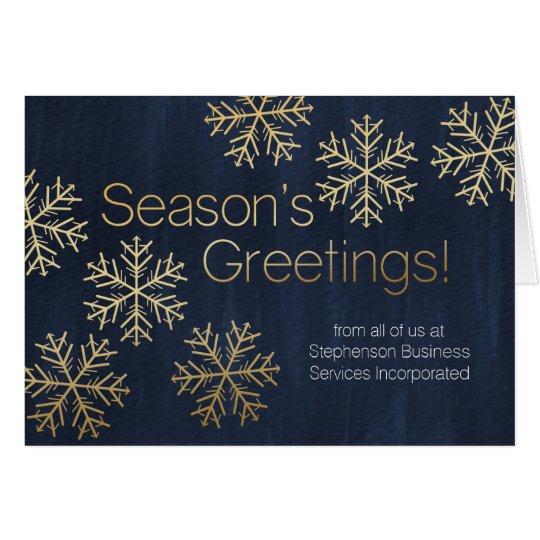 Gold Snowflakes Season's Greeting Business Holiday Card