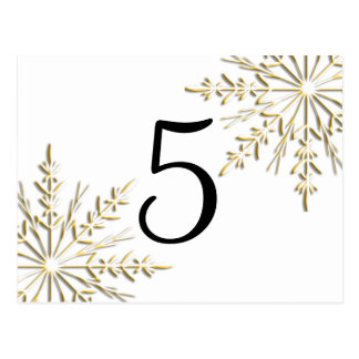 Gold Snowflakes Table Number Post Card
