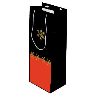Gold Snowflakes Tangerine Christmas Wine Gift Bag