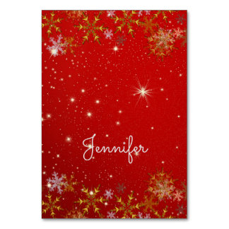 Gold Snowflakes Tented Red Christmas Place Cards