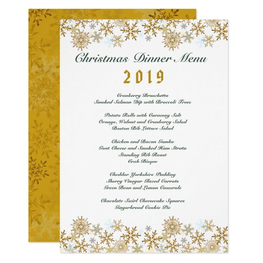 Gold Snowflakes White Christmas Dinner Menu Card