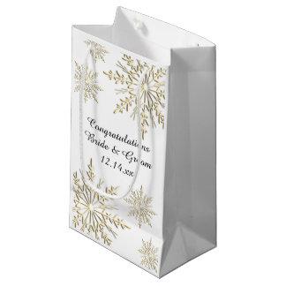 Gold Snowflakes Winter Wedding Congratulations Small Gift Bag