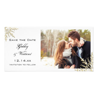 Gold Snowflakes Winter Wedding Save the Date Photo Greeting Card