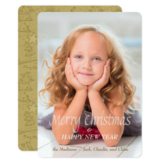 Gold Snowman Scribble Photo Template Christmas Card