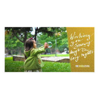 Gold Snowy Days And Cozy Nights Script Holiday Photo Card Template