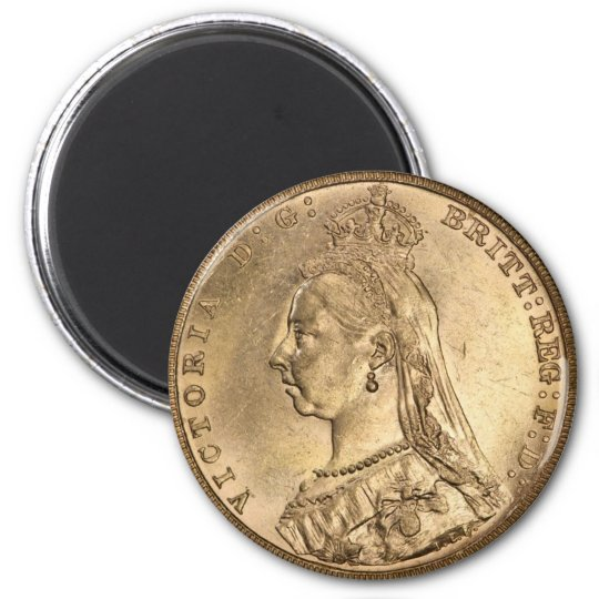 GOLD SOVEREIGN. Queen Victoria. 6 Cm Round Magnet
