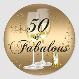 Gold Sparkle 50 & Fabulous Birthday Sticker