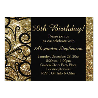 Gold Sparkle 50th Birthday Party Swirl Card