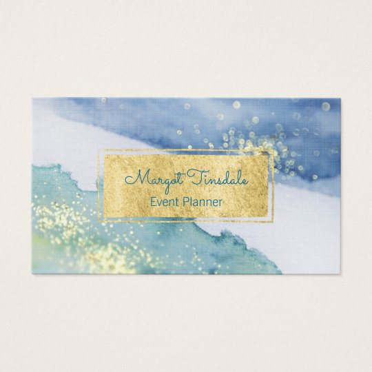 Gold Sparkle and Watercolor Business Card