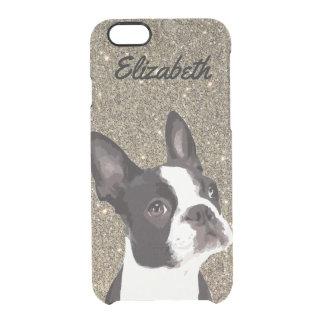 Gold Sparkle Boston Terrier Name Phone Case