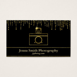 Gold Sparkle Camera Photographer Business Card