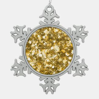Gold sparkle christmas pewter snowflake decoration
