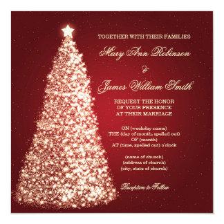 Gold Sparkle Christmas Wedding Red 13 Cm X 13 Cm Square Invitation Card