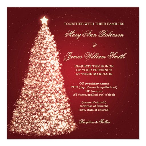 Gold Sparkle Christmas Wedding Red Personalized Invite