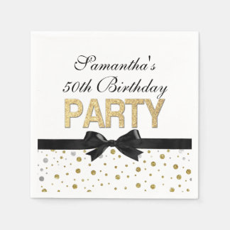 Gold Sparkle Confetti 50th Birthday Party Paper Serviettes