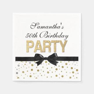 Gold Sparkle Confetti 50th Birthday Party Paper Serviettes