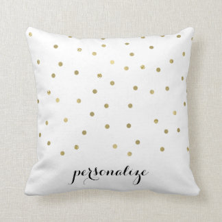 Gold Sparkle Confetti Dots personalized Throw Pillow