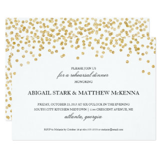 Gold Sparkle Confetti Rehearsal Dinner Invitation2 Card