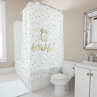 Gold Sparkle Confetti You are Beautiful Shower Curtain