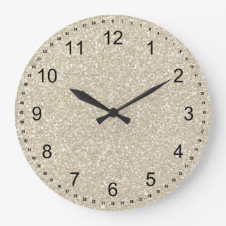 Gold Sparkle Faux Glitter Large Clock