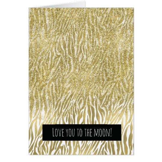 Gold Sparkle Faux Glitter Zebra Print Love Card