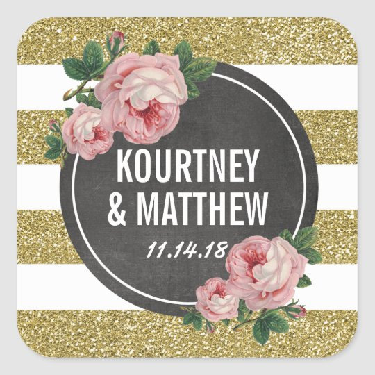 Gold Sparkle Floral Pink Chic Wedding Square Sticker