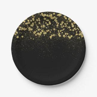 Gold Sparkle Glitter Confetti Paper Plate