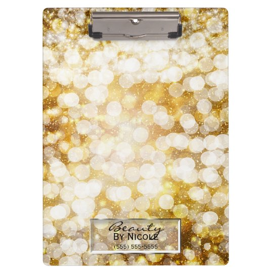 Gold Sparkle Glitter Lights Chic Glam Personalised Clipboard