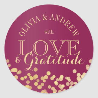 Gold Sparkle Light Love and Gratitude Classic Round Sticker