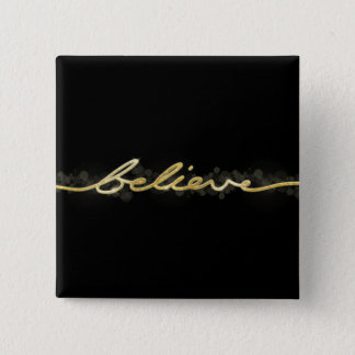 Gold Sparkle Look Bokeh Believe Christmas 15 Cm Square Badge