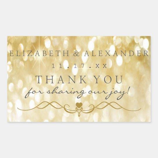 Gold Sparkle Personalised Thank You Wedding Rectangular Sticker