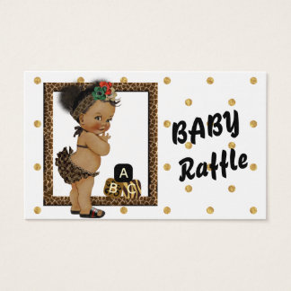 Gold Sparkle Polka Dot Diaper Raffle Business Card