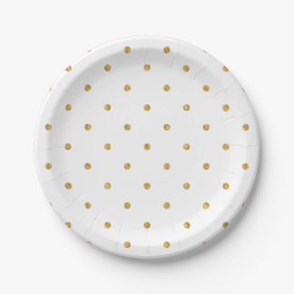 Gold Sparkle Polka Dot Paper Plate