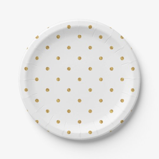 Gold Sparkle Polka Dot Paper Plate 7 Inch