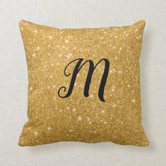 Gold Sparkle print Bling with Initial Cushion
