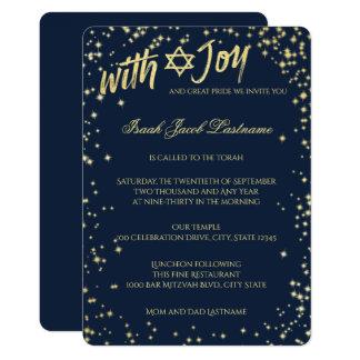 Gold Sparkle Sky Navy Blue Bar Mitzvah 13 Cm X 18 Cm Invitation Card