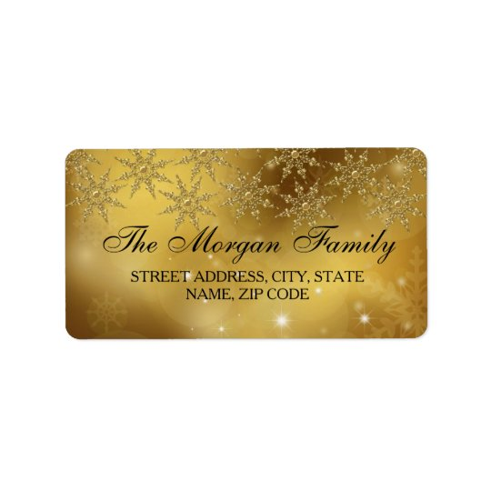 Gold Sparkle Snowflake Christmas Address Labels