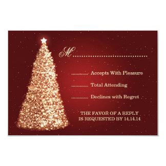 Gold Sparkle Wedding RSVP Red 9 Cm X 13 Cm Invitation Card