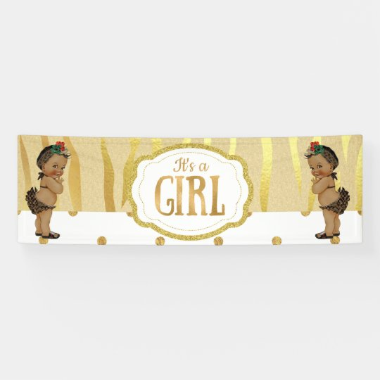 Gold Sparkle Zebra Print Baby Shower Banner