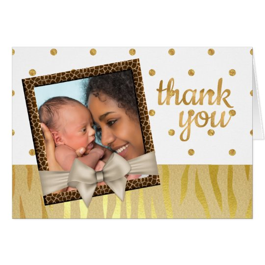 Gold Sparkle Zebra Print Baby Shower Thank You