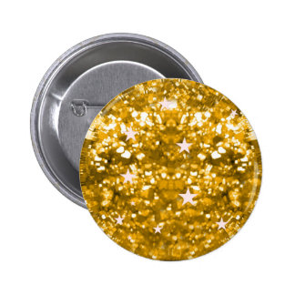 Gold sparkles glitter and stars button