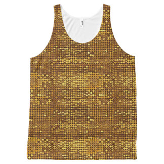 Gold Sparkling Sequin Look All-Over Print Tank Top
