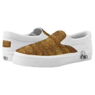Gold Sparkling Shimmer Sequin Look Printed Shoes