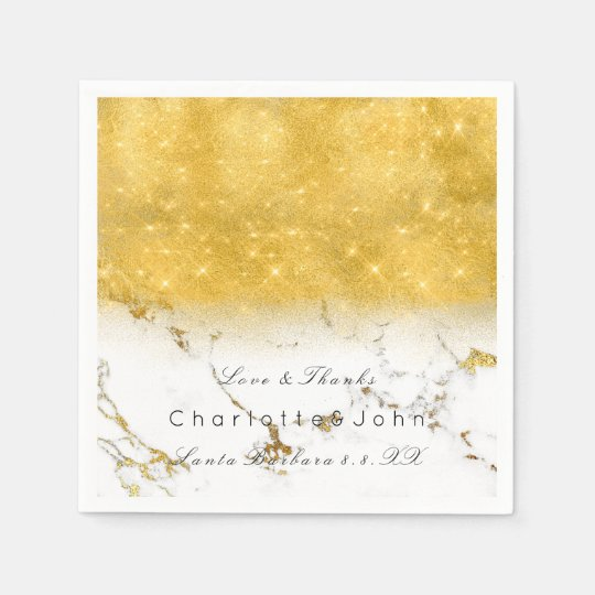 Gold Sparkly Glitter Marble White Bridal Girly Disposable