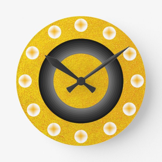 Gold Sparkly Glittery Yellow Golden Contemporary Round Clock