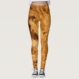 Gold sparkly holiday ornament star pattern leggings