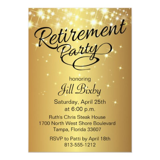 Gold Sparkly Retirement Party Invitation