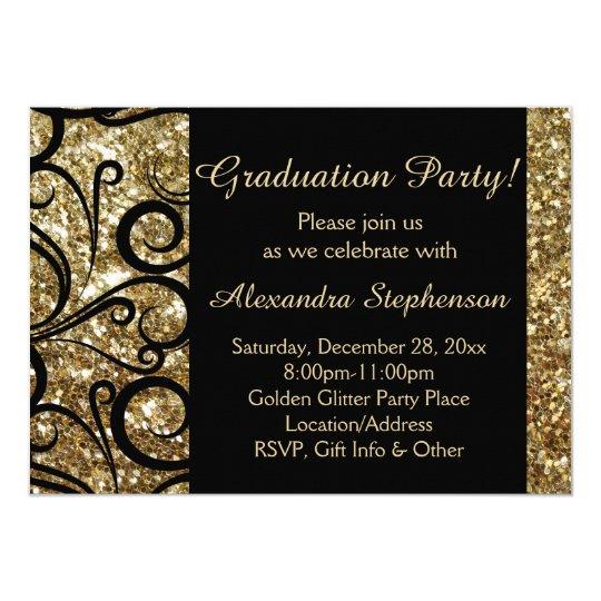 Gold Sparkly Swirl Graduation Party Invitation