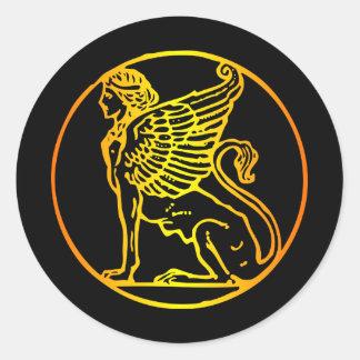 Gold Sphinx Round Sticker