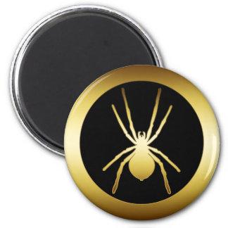 GOLD SPIDER 6 CM ROUND MAGNET